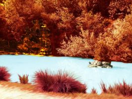Fiery landscape and icy water by KozmotisPitchiner