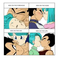 Kissx4 meme - Vegeta and Bulma by pallottili