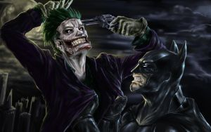 Jocker and Batman by NakedMazaFaker