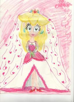 Princess Peach in  a wedding dress by CAMIKOOPA