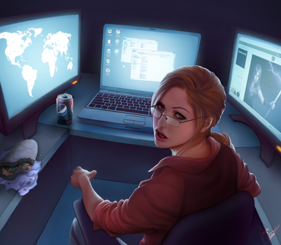 Computer girl by abbottcreations