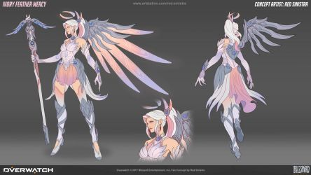 Overwatch: Ivory Feather Mercy - Fan Skin Concept by Red-Sinistra
