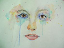 abstract watercolor portrait by imma-flower-child