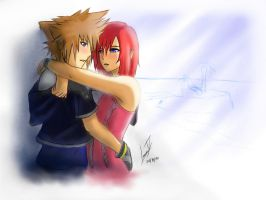 Kingdom Hearts: Sora and Kairi are about to kiss by Luran-V
