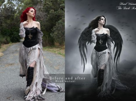 The dark raven before and after by Hend-Watani