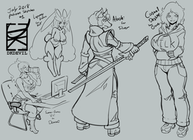 July 2018 Patreon sketches 1 by DKDevil