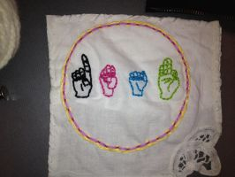 Embroidery for my Deaf culture class by beet17