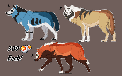 [CLOSED  POINT ADOPTABLES] Canines by NorthernUrsus
