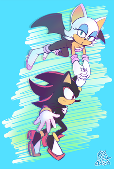 Fly me up! - Shadow and Rouge by RGXSuperSonic