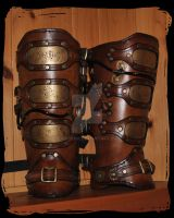 Steampunk Leather Greaves 1 by Lagueuse