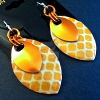 Orange Diamond Double Scalemaille Earrings by Rosie-Periannath