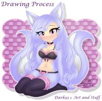 Drawing Process - Cute Kya - KynneWolfG by Dark93C
