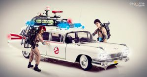 Ghostbusters Ecto-1, Janine and Egon by kathy1602