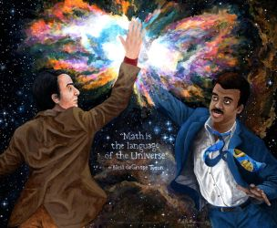 Carl Sagan high-fiving Neil deGrasse Tyson by mattmcmanis