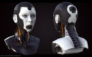 Cyborg Female bust, front and back by lancewilkinson