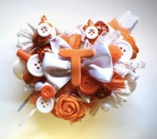 White And Orange heart ''T'' initial brooch by queenofexecutions