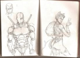 Sketchbook 6 - Deathstroke and Catwoman by Coconuthead