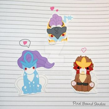 Raikou/Entei/Suicune Stickers and Magnets by pixelboundstudios