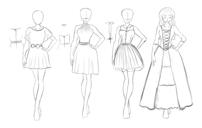 Outfit sketches by Lulle313