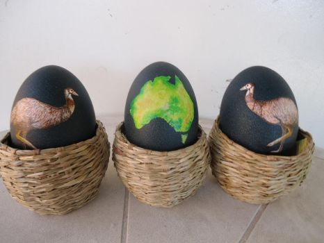 Painted Emu Eggs by dinoloverXX