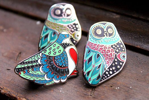 Luzon Pigeon and Mystic Owl Enaml Pins by AngelaRizza