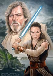 The Last Jedi - Luke and Rey by scifiartist-dot-com