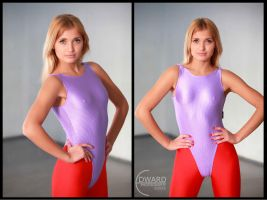 Posing in leotard in pants by Edward-Photography