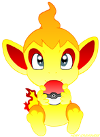 OLD ART : CHIMCHAR AND A POKEBALL by HOBYGRENOUSSE
