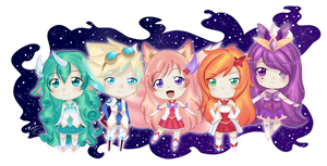 TEAM AHRI - Star Guardian Chibis! by mei-kogal