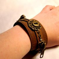 Wonderland Gears Leather Cuff by SteamSociety