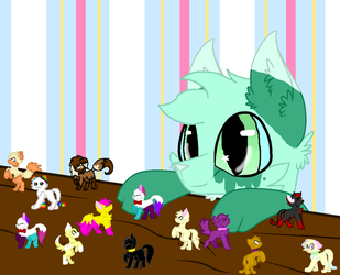 Mint leaf and his toys by MintyMagic74