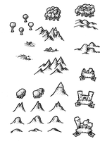 Black and White Map Symbols Overland 2 by DarthAsparagus