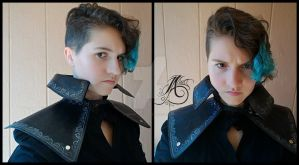 Black Leather Cape Shawl by JAFantasyArt