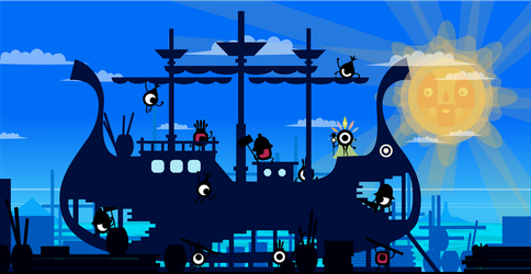 Patapon Boat Canteer Wallpaper by Fabierex2000
