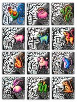 Chinese Zodiac Animals, 2005 by katat0nik