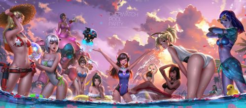 Overwatch Pool Party by Liang-Xing