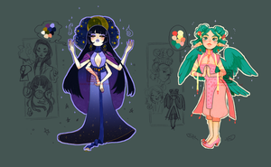 |CLOSED|Adoptables - Summer forest and Night sky by Asano-nee