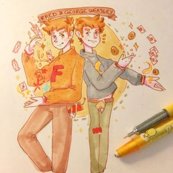 Happy Bday Fred and George! by pomifumi