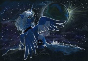 Luna on the moon by Imanika