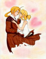 Ed and Winry Commission by christi-chan