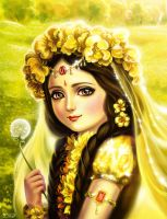 Radha and flower by Develv