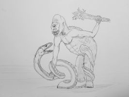 Unknown after humans: The Cyclops vs Serpent by Trendorman