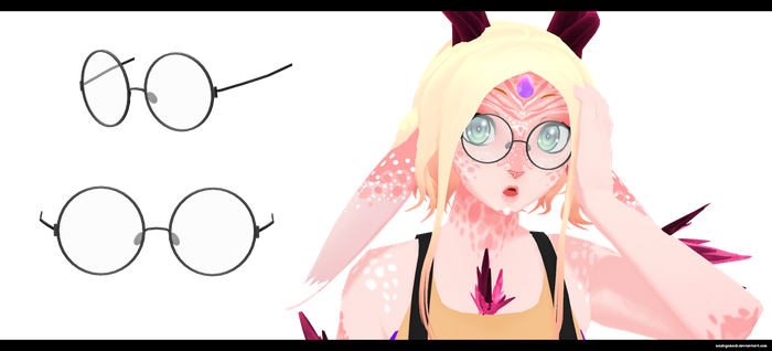 MMD: Round Glasses DL by kaahgomedl