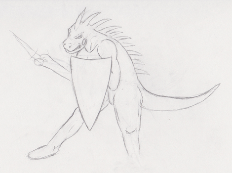 20 min Theme drawing- 'Lizard on the defense' by IcedSteelWolf