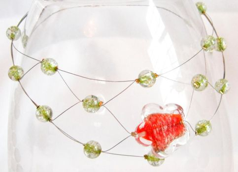 Green crackle floating choker by EccentricOcean