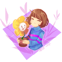 Fanart- Frisk and Flowey by neko-kumicho-chan