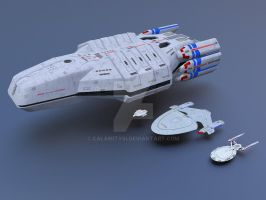 Federation Carrier USS Valkyrie Size Comparison 1 by calamitySi