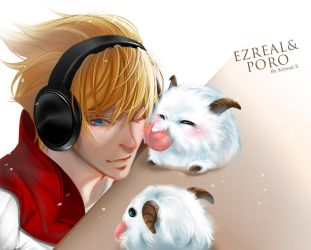 Ezreal and Poro by KrystalSxxx