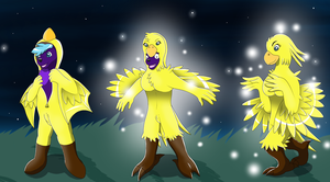 Comission: Chocobo Suit ( Anthro Chocobo TF TG ) by Avianine