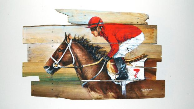 Watercolor Horse Race on Pallet Wood by Abstractmusiq